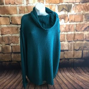 Caslon Chunky Knit. Cowl Neck. Teal Green
